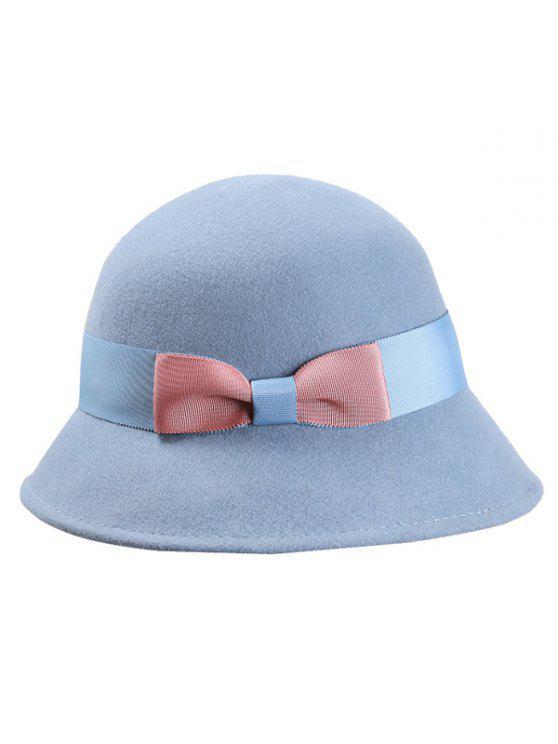 latest Bowknot Wool Bucket Hat - LIGHT BLUE