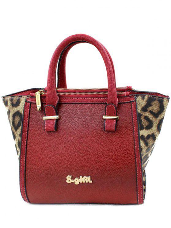 Leopard-Druck-Farben-Block-Einkaufstasche - Rot