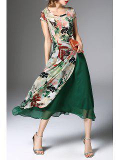 Flower Print Midi Dress With Skirt - Green 2xl