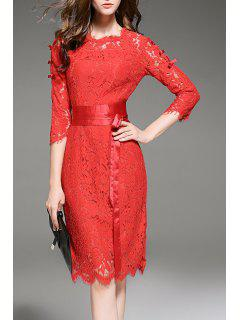 Lace Openwork Dress With Belt - Red S