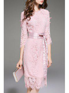 Lace Openwork Dress With Belt - Pink S