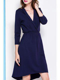 Plunging Neck Asymmetric Hem Midi Dress - Deep Blue S