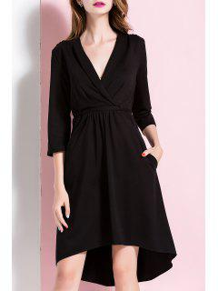 Plunging Neck Asymmetric Hem Midi Dress - Black S