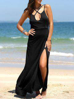 High Slit Front Crossed Plunging Neck Maxi Dress - Black L