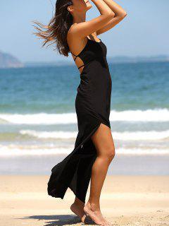 Maxi Robe à Bretelles Shpaghetti Avec Fente Haute En Couleur Unie Pour Les Femmes - Noir S