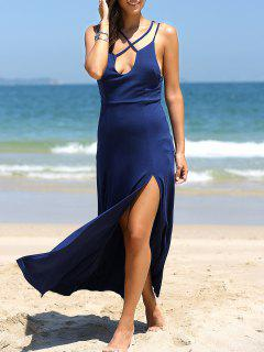 High Slit Front Crossed Plunging Neck Maxi Dress - Deep Blue M