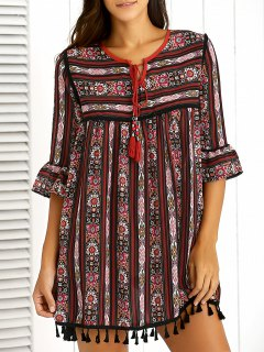 Retro Print Round Neck Flare Sleeve Dress - Wine Red