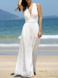 Backless Plunging Neck Jumpsuit - White S
