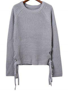 Lace Up Col Rond Manches Longues Jumper - Gris