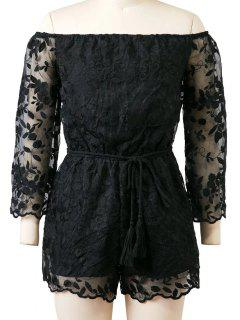 Organza Off The Shoulder Floral Broderie Romper - Noir L