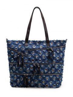 Denim Hole Zippers Shoulder Bag - Deep Blue