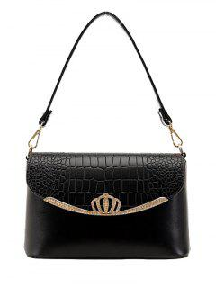Crocodile Print Crown Metal Shoulder Bag - Black