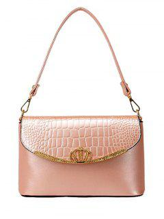 Crocodile Print Crown Metal Shoulder Bag - Pink