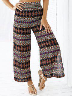 Argyle Imprimer Taille Haute Pantalon Droit - M