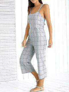 Checked Double Strap Jumpsuit - Gray S