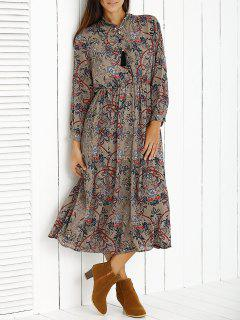 Retro Print Stand Neck Long Sleeve Waisted Dress - Apricot M