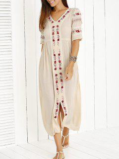 Embroidered Long Dress - Beige S