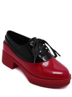 Tie Up Colour Block Round Toe Platfrom Shoes - Red 38