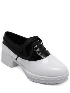 Tie Up Colour Block Round Toe Platfrom Shoes - White 38