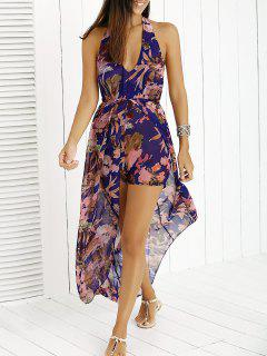 Chiffon Halter Backless Maxi Dress - Purple S