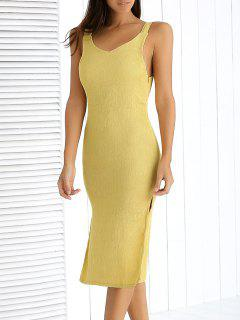 Side Vent Midi Tank Dress - Light Yellow