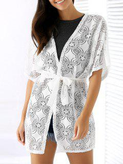 Openwork Lace Kimono Blouse - White