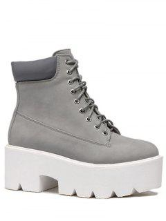 Platform Tie Up Round Toe Short Boots - Gray 38