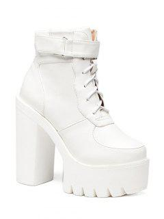 Chunky Heel Lace-Up Platform Short Boots - White 37