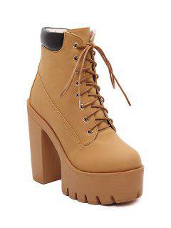Chunky Heel Tie Up Platform Short Boots - Light Brown 39