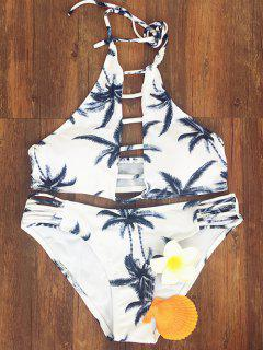 Coconut Palm Printed Halter Bikini Set - M