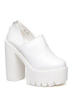 Zipper Platform Chunky Heel Pumps - White 38