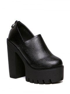 Zipper Platform Chunky Heel Pumps - Black 38
