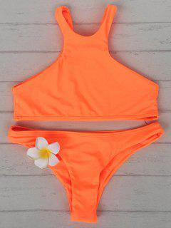 Orange High Neck Bikini Set - Sweet Orange Xl