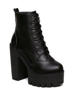 Zipper Black Lace-Up Short Boots - Black 39