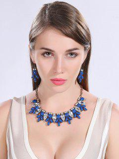 Faux Crystal Resin Necklace And Earrings - Deep Blue