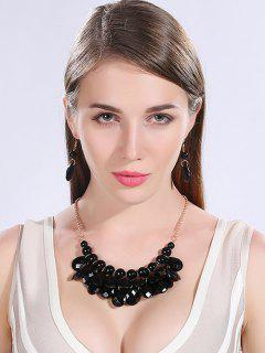 Beads Water Drop Necklace And Earrings - Black