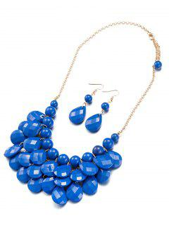 Beads Water Drop Necklace And Earrings - Sapphire Blue