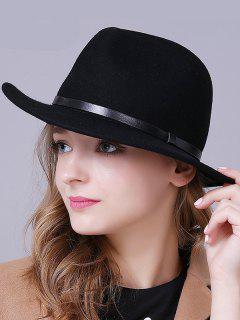 Lana Clásico Sombrero De Fedora - Negro