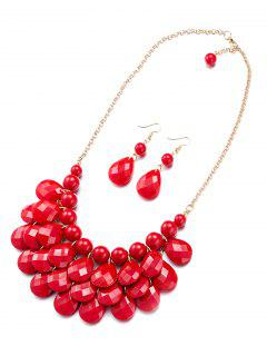 Beads Water Drop Necklace And Earrings - Red