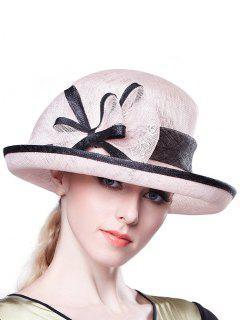 Bowknot Linen Bowler Hat - Pink