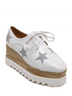 Square Toe Star Pattern Sequined Wedge Shoes - White 39