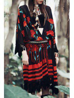 Floral Tassels Chiffon Kimono Blouse - Black Xs
