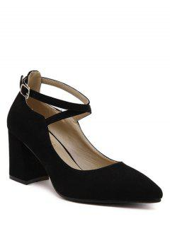 Cross Straps Pointed Toe Flock Pumps - Black 38