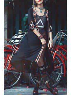 Embroidered Chiffon Kimono Blouse - Black S