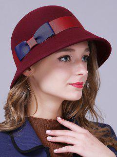 Bowknot Wool Bucket Hat - Claret