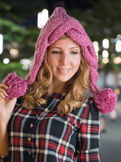 Ball Embellished Knitted Hat - Rose Madder