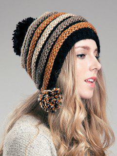 Ball Embellished Stripe Knitted Hat - Light Brown