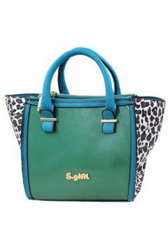 Leopard Print Color Block Tote Bag - Green