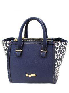 Leopard Print Color Block Tote Bag - Blue