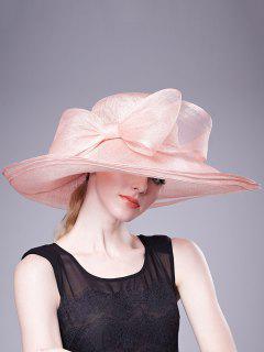 Bowknot Linen Woven Dinner Hat - Pink